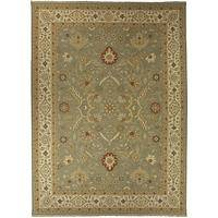 Classic oriental green/ivory wool area rug, 'Hammond' - Classic Oriental Green/Ivory Wool Area Rug