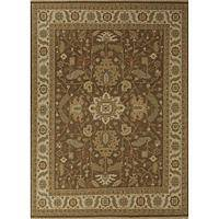 Classic oriental brown/ivory wool area rug, 'Caravel' - Classic Oriental Brown/Ivory Wool Area Rug