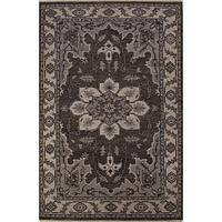 Classic oriental dark gray wool area rug, 'Eastern' - Classic Oriental Dark Gray Wool Area Rug