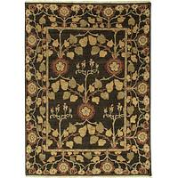 Classic arts and crafts brown/yellow wool area rug, 'Ash' - Classic Arts And Crafts Brown/Yellow Wool Area Rug