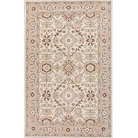 Classic oriental ivory/red wool area rug, 'Kingdom' - Classic Oriental Ivory/Red Wool Area Rug