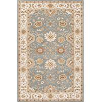 Classic oriental blue/ivory wool area rug, 'Hawthorne' - Classic Oriental Blue/Ivory Wool Area Rug