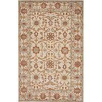 Classic oriental ivory/white wool area rug, 'Ashur' - Classic Oriental Ivory/White Wool Area Rug