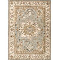 Classic oriental blue/ivory wool area rug, 'Province' - Classic Oriental Blue/Ivory Wool Area Rug