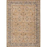 Classic oriental taupe/blue wool area rug, 'Cyrus' - Classic Oriental Taupe/Blue Wool Area Rug