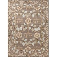 Classic arts and crafts gray/blue wool area rug, 'Bowan' - Classic Arts And Crafts Gray/Blue Wool Area Rug