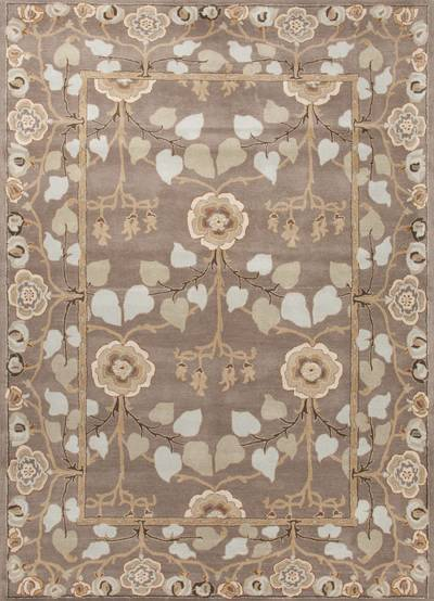 Classic arts and crafts taupe/blue wool area rug, 'Bowan' - Classic Arts And Crafts Taupe/Blue Wool Area Rug