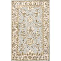 Classic oriental blue/ivory wool area rug, 'Hirsa' - Classic Oriental Blue/Ivory Wool Area Rug