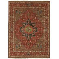 Classic oriental red/blue wool area rug, 'Naomi' - Classic Oriental Red/Blue Wool Area Rug