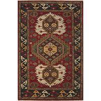 Classic oriental red/black wool area rug, 'Karle' - Classic Oriental Red/Black Wool Area Rug