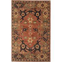 Classic oriental orange wool area rug, 'Joan' - Classic Oriental Orange Wool Area Rug