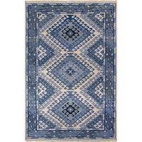 Classic tribal blue wool area rug, 'Lyle' - Classic Tribal Blue Wool Area Rug