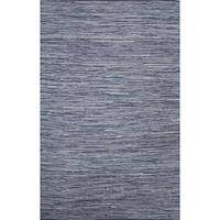 Flat-weave solid blue cotton area rug, 'Persian Heather' - Flat-Weave Solid Blue Cotton Area Rug