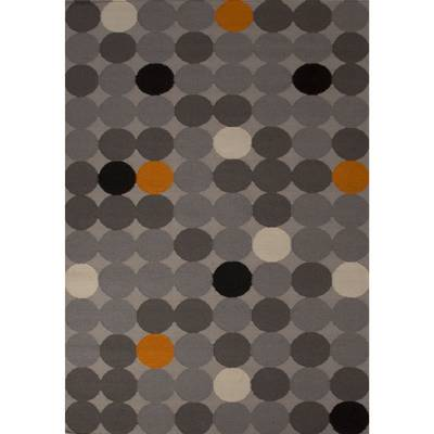 Flat-weave geometric multi wool area rug, 'Buttons' - Flat-Weave Geometric Multi Wool Area Rug