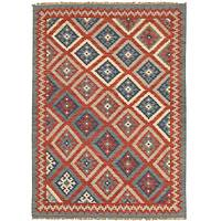 Flat-weave tribal red/blue wool area rug, 'Inca' - Flat-Weave Tribal Red/Blue Wool Area Rug