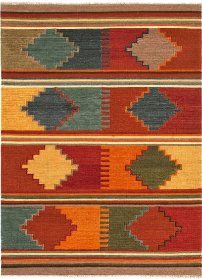 Flat-weave tribal red/multi wool area rug, 'Arizona' - Flat-Weave Tribal Red/Multi Wool Area Rug