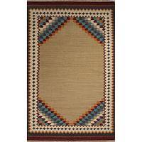 Flat-weave tribal tan/red wool area rug, 'Waive' - Flat-Weave Tribal Tan/Red Wool Area Rug