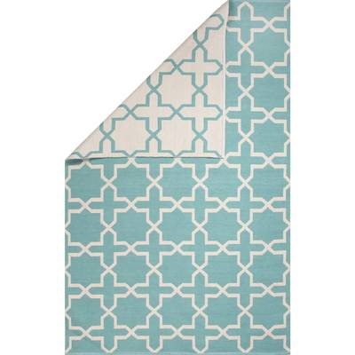 Flat-weave moroccan blue/ivory reversible cotton area rug, 'Clear Day' - Flat-Weave Moroccan Blue/Ivory Reversible Cotton Area Rug