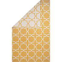 Flat-weave moroccan yellow/ivory reversible cotton area rug, 'Sunny Day' - Flat-Weave Moroccan Yellow/Ivory Reversible Cotton Area Rug