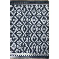 Flat-weave tribal blue/ivory wool area rug, 'Calli' - Flat-Weave Tribal Blue/Ivory Wool Area Rug