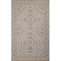 Flat-weave tribal gray/ivory wool area rug, 'Olin' - Flat-Weave Tribal Gray/Ivory Wool Area Rug