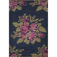 Flat-weave floral purple/pink wool area rug, 'Flora' - Flat-Weave Floral Purple/Pink Wool Area Rug
