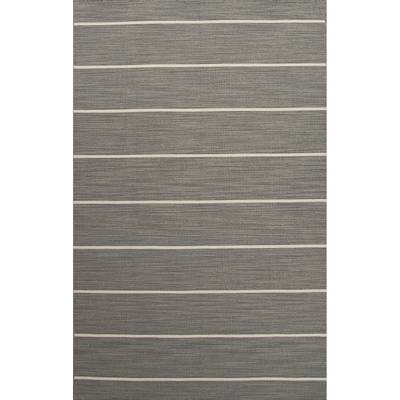 Flat-weave stripe gray/ivory wool area rug, 'Rowan' - Flat-Weave Stripe Gray/Ivory Wool Area Rug