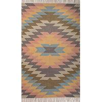 Indoor-outdoor tribal multi-color area rug, 'Erith' - Indoor-Outdoor Tribal Multi Color Area Rug