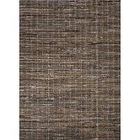 Flat-weave texture brown cotton area rug, 'Teddy' - Flat-Weave Texture Brown Cotton Area Rug