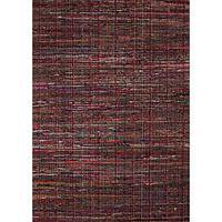 Flat-weave texture red cotton area rug, 'Stella' - Flat-Weave Texture Red Cotton Area Rug