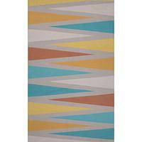 Flat-weave tribal gray/blue cotton area rug, 'Trine' - Flat-Weave Tribal Gray/Blue Cotton Area Rug