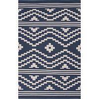 Flat-weave tribal blue/ivory cotton area rug, 'Surrey' - Flat-Weave Tribal Blue/Ivory Cotton Area Rug