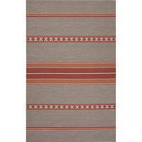 Flat-weave tribal gray cotton area rug, 'Ginger Ribbon' - Flat-Weave Tribal Gray Cotton Area Rug