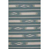 Flat-weave tribal blue/ivory wool area rug, 'Ocean Timber' - Flat-Weave Tribal Blue/Ivory Wool Area Rug