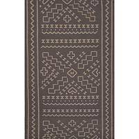 Flat-weave tribal gray wool area rug, 'Qari' - Flat-Weave Tribal Gray Wool Area Rug