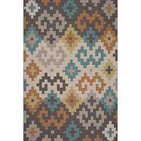 Flat-weave tribal gray/ivory wool area rug, 'Pixel' - Flat-Weave Tribal Gray/Ivory Wool Area Rug