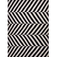 Flat-weave stripe black/ivory wool area rug, 'Noir Vaughn' - Flat-Weave Stripe Black/Ivory Wool Area Rug