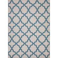 Flat-weave geometric ivory/blue wool area rug, 'Teal Shiloh' - Flat-Weave Geometric Ivory/Blue Wool Area Rug