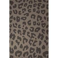 Flat-weave animal print dark gray wool area rug, 'Feline Print' - Flat-Weave Animal Print Dark Gray Wool Area Rug