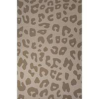 Flat-weave animal print tan wool area rug, 'Big Cat Print' - Flat-Weave Animal Print Tan Wool Area Rug
