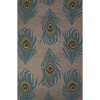 Flat-weave animal print blue wool area rug, 'Blue Feather' - Flat-Weave Animal Print Blue Wool Area Rug
