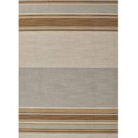 Flat-weave stripe blue/brown wool area rug, 'Muddy Water' - Flat-Weave Stripe Blue/Brown Wool Area Rug