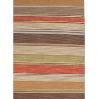 Flat-weave stripe red/brown wool area rug, 'Desert Sun' - Flat-Weave Stripe Red/Brown Wool Area Rug