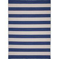Flat-weave stripe blue/ivory wool area rug, 'Harbor' - Flat-Weave Stripe Blue/Ivory Wool Area Rug