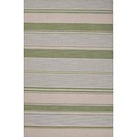 Flat-weave stripe blue/green wool area rug, 'Mossy Oak' - Flat-Weave Stripe Blue/Green Wool Area Rug
