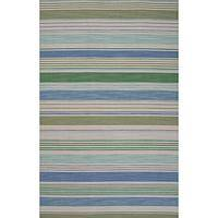 Flat-weave stripe blue wool area rug, 'Oyster Bay' - Flat-Weave Stripe Blue Wool Area Rug