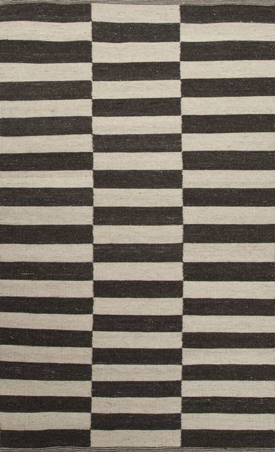 Flat-weave geometric ivory/black wool area rug, 'Barcode' - Flat-Weave Geometric Ivory/Black Wool Area Rug