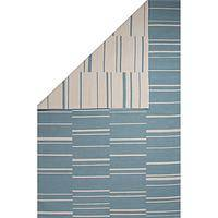 Flat-weave stripe blue/white reversible cotton area rug, 'Clearwater' - Flat-Weave Stripe Blue/White Reversible Cotton Area Rug