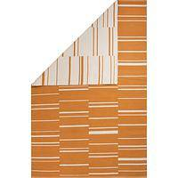 Flat-weave stripe orange/white reversible cotton area rug, 'Paprika' - Flat-Weave Stripe Orange/White Reversible Cotton Area Rug