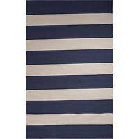 Flat-weave stripe blue/white cotton area rug, 'Navy Bean' - Flat-Weave Stripe Blue/White Cotton Area Rug